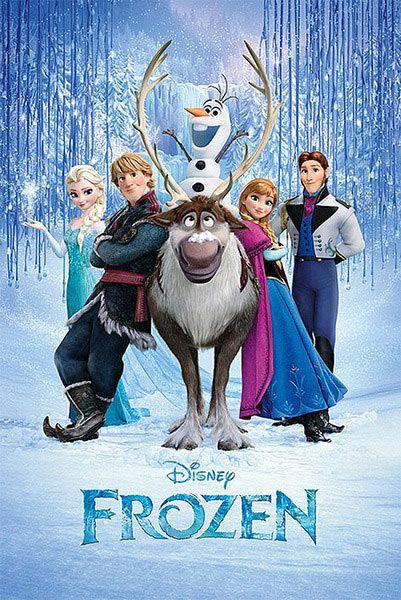 Póster Frozen: el reino del hielo, portada Póster con la imagen de los personajes principales de la película de animación Frozen el reino del hielo.