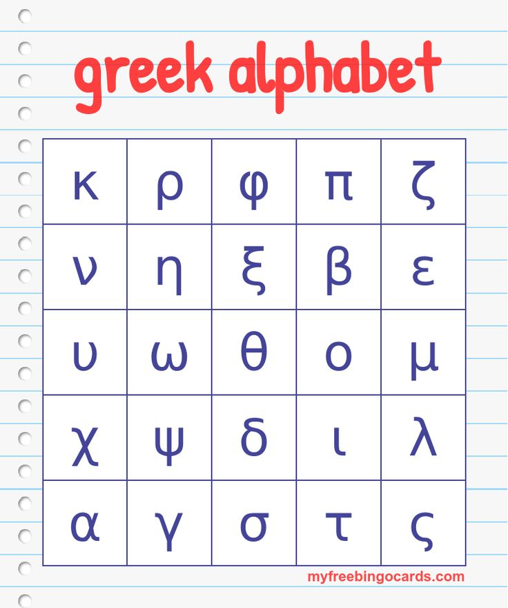 Wild image for greek alphabet printable