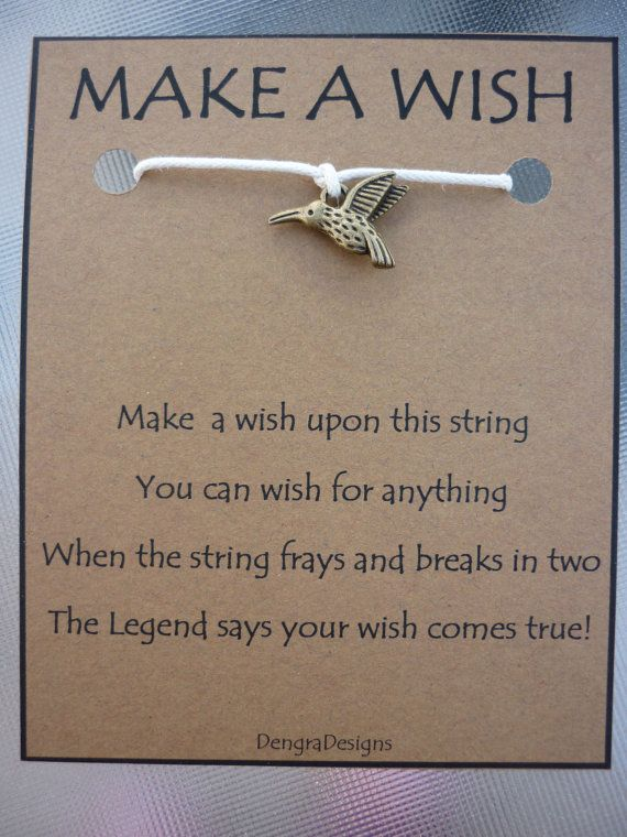 WISH STRING Bracelet HUMMING Bird Cord Color by DengraDesigns