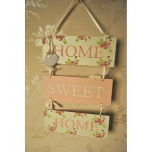 Shabby Chic Home Sweet Home Metal Hanging Plaque with small hanging heart white and pink polka dot hearts Vintage Rose design £7.50