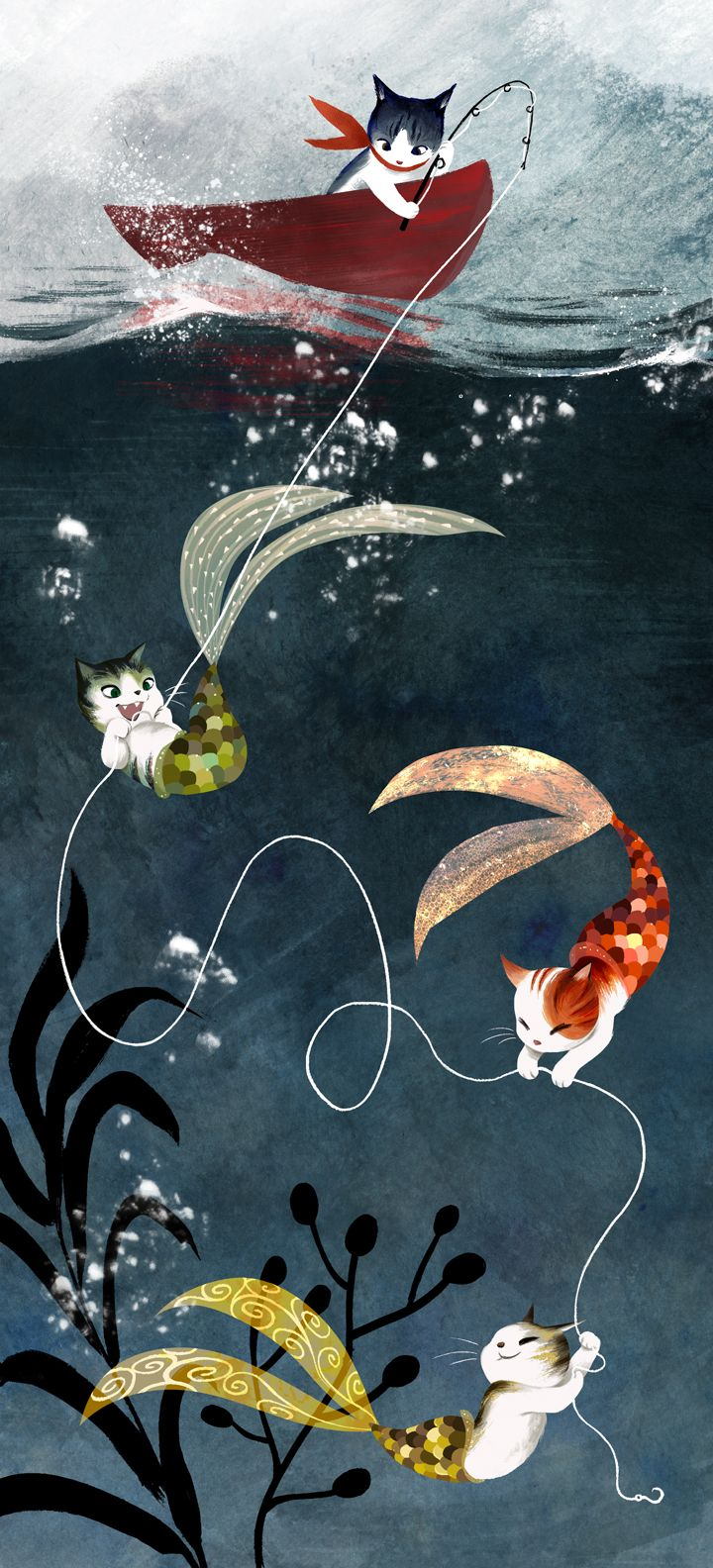 Whimsical illustration of...fishcats? Found via Erin Schechtman. ( Orig. Vivedessins on Tumblr).