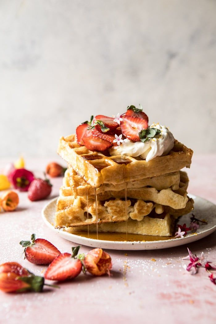 Overnight Waffles with Whipped Meyer Lemon Cream and Strawberries