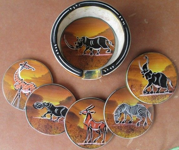 africanartonline.com - African Soap Stone Cup Coasters Set of 6, $39.95 including shipping worldwide, Hand crafted and painted in east Arusha, East Africa http://africanartonline.com/african-soap-stone-cup-coasters-set-of-6/