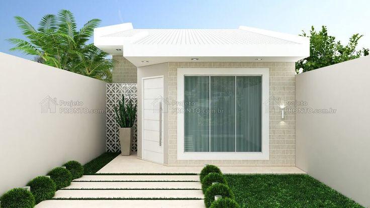 Casa simples, bonita e funcional. É assim que descrevemos essa pequena casa para duas pessoas, com uma fachada de telhado aparente bem charmosa.