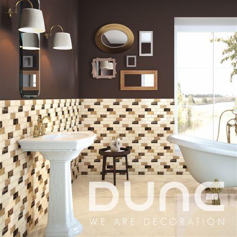 Tobler 29.9x30.3: Mosaico que combina mármol beige, noce y emperador, compuesto por 18 piezas rectangulares con relieve convexo y teselas biseladas. #duneceramica #diseño #calidad #diferenciacion #creatividad #innovacion #tendencia #moda #decoracion #design #quality #differentiation #creativity #innovation #trend #fashion #decoration #duneemphasis #mosaico #piedra #mosaic #stone http://www.dune.es/es/public/pages/product/product:186889,environment:233