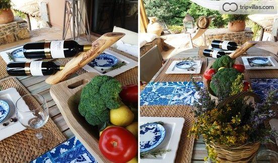 Dining table in covered veranda