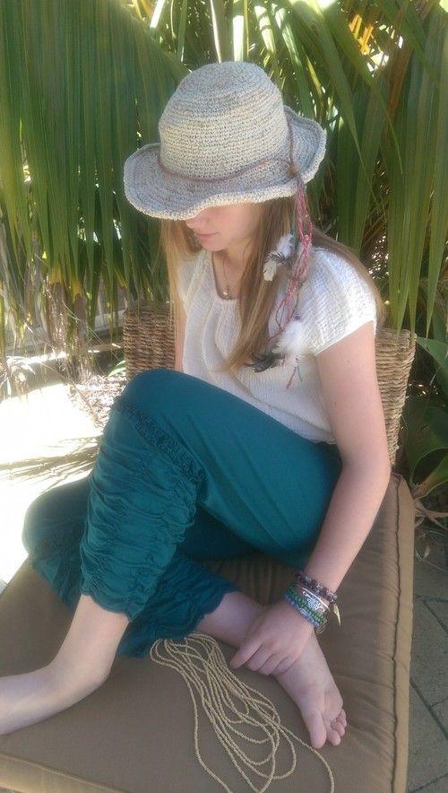 Om Ruffled Yoga Pant - Green.jpg