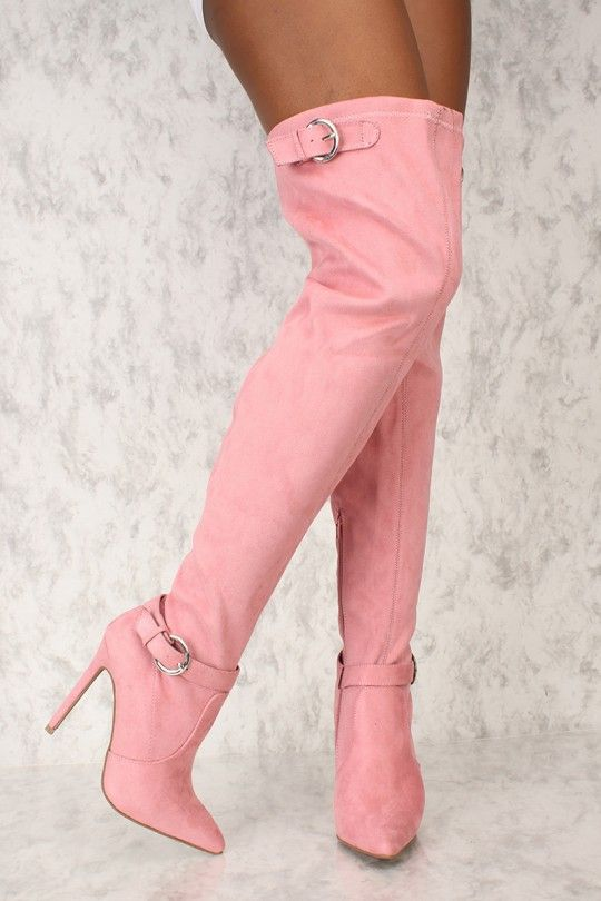 50c549466 Sexy Dusty Pink Buckle Pointy Toe Thigh High Boots Faux Suede in ...