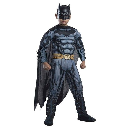 • Authentic Batman details <br>• Bodysuit with muscle chest <br>• Includes boot tops, cape, mask and more <br>• Cozy enough for outdoor trick-or-treating <br><br>He'll use his power for good in the DC Comics Boys' Batman Deluxe Costume. This boys' batman costume has all the details of the real thing, and will have him fighting evil and loading up on candy all over Gotham.
