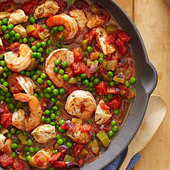 This tasty Spanish-inspired shrimp dish takes just 30 minutes from start to finish. Use Brown Rice in place of Spanish rice.