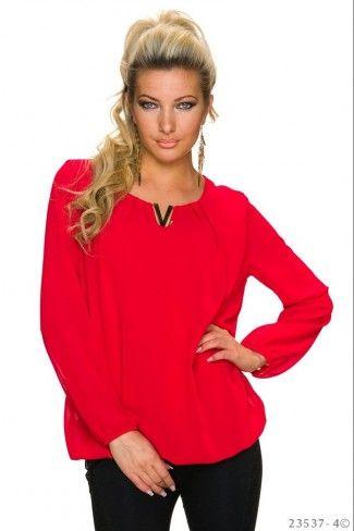 Ριχτή μονόχρωμη σιφόν μπλούζα - Κόκκινο