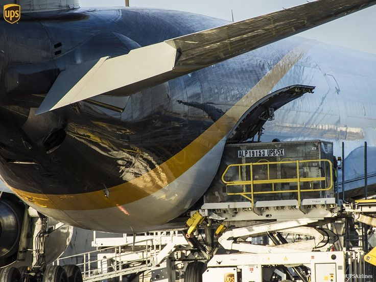 UPS cargo plane / freighter being loaded up