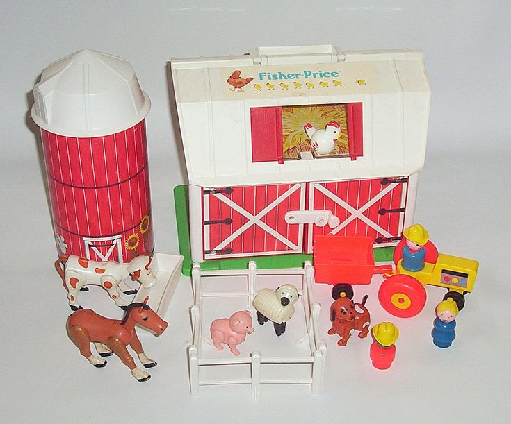 fisher price vintage toys - This was so much fun. The barn door used to moo! It made me the 70s version of the annoying orange! Moomoomoomoo....
