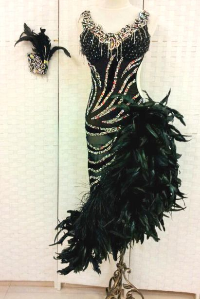 Rhinestone #Zebra Dress With Feathers http://www.dancingfeeling.com/