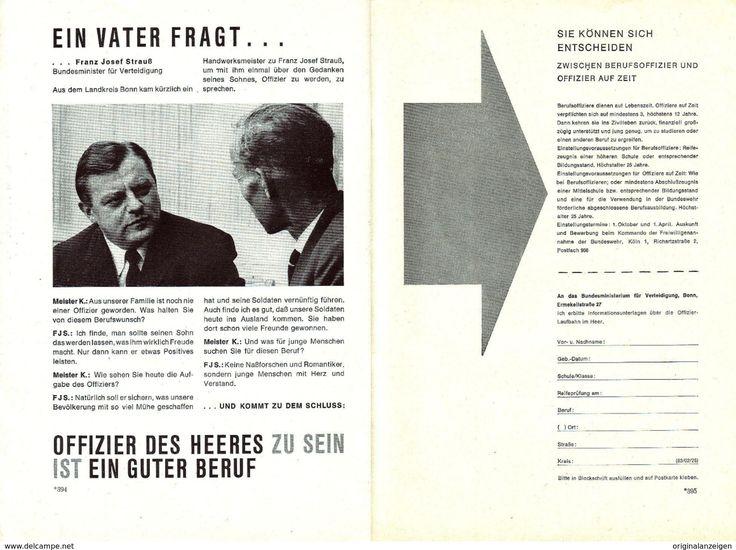 Werbung - Original-Werbung/Anzeige 1961 - DOPPELSEITE BUNDESWEHR / FRANZ JOSEF STRAUSS - ca. 310 x 230 mm