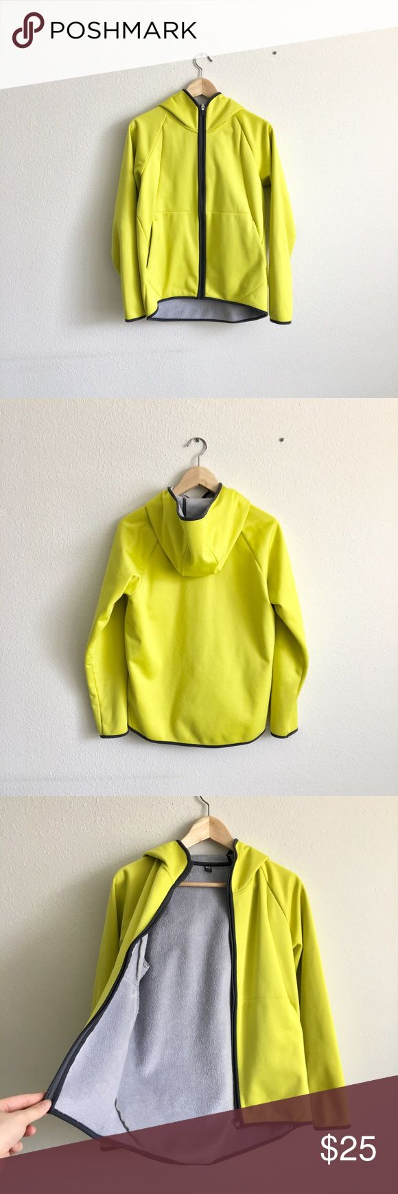 Neon Yellow Uniqlo Jacket A great jacket for spring weather. Warm, furry lining inside. Uniqlo Jackets & Coats