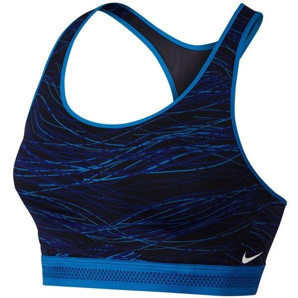 Nike Pro Fierce Accelerator Sports Bra, Photo Blue/Obsidian ($43) ❤ liked on Polyvore featuring activewear, sports bras, sport, nike, nike activewear, nike sports bra, racerback sports bra and racer back sports bra
