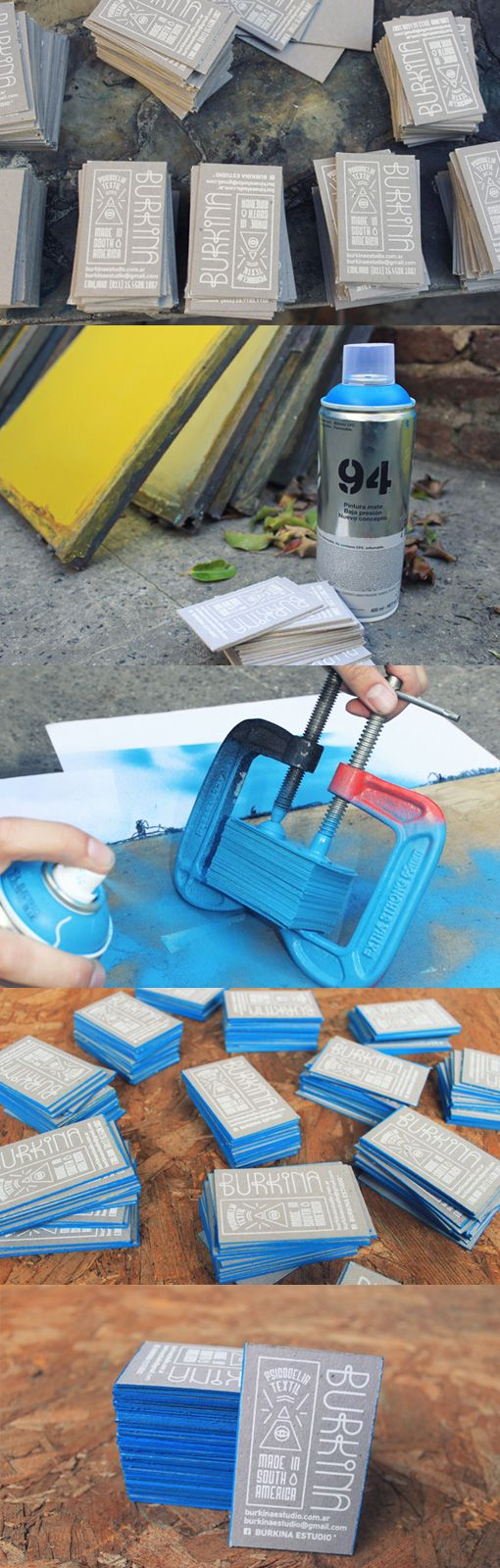 Handmade Blue Edged Design business cards .. .spray paint the best way to go to get the edge!