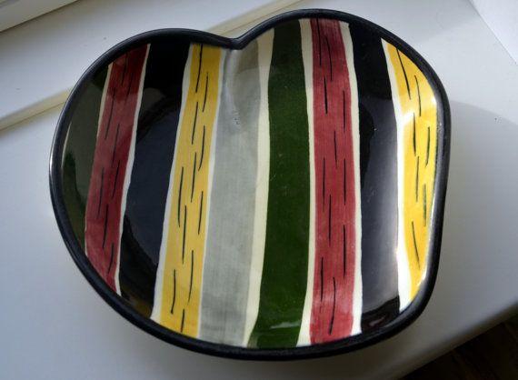 Real Retro Strehla ceramic dish multicoloured by BirkmosesBestBuys, $11.00