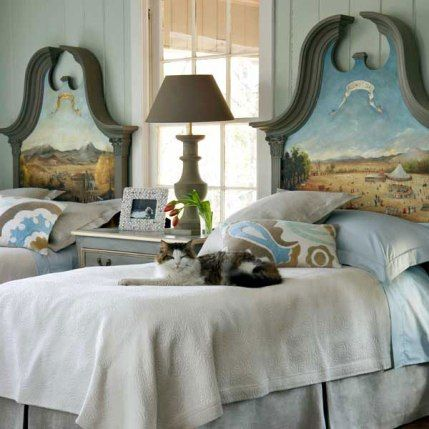 Roses and Rust: Bedrooms for Boys-- love these story inspired painted headboards for little boys...