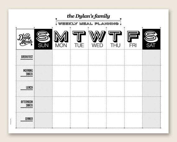 Editable Meal Planner Calendar : Printable weekly meal planner editable pdf organizing