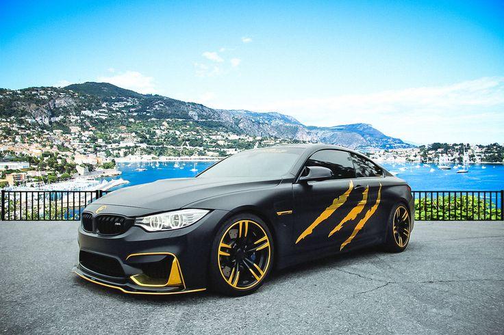 BMW M4 Monster gold wrap