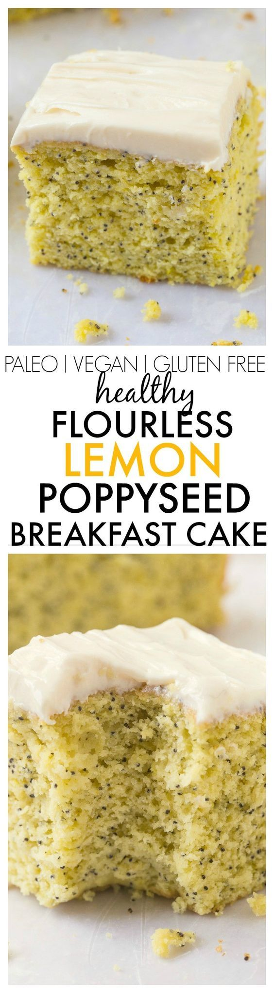 Healthy Flourless Lemon Poppy Seed Breakfast Cake- Light and fluffy on the inside, tender on the outside, an accidentally healthy breakfast, dessert or snack- Absolutely NO butter, oil, flour or sugar! {vegan, gluten free, paleo recipe}- thebigmansworld.c