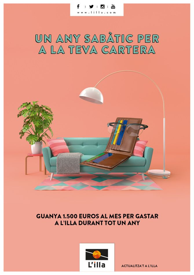 """Illa diagonal mall ad - """" a gap year to your wallet. win a monthly salary of 1500€ to spend in our mall. By:  guillem zuazola & elena nuñez"""