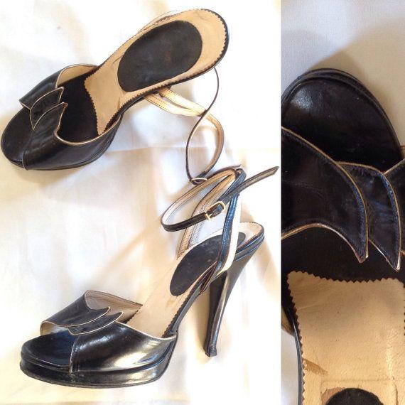 70s francese plateau scarpe / / nero in pelle e oro tacchi alti 37 fr