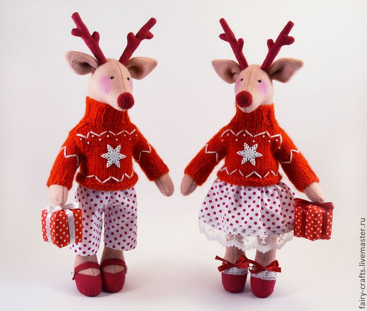 Купить+Рождественские+олени+в+стиле+Тильда+-+ярко-красный,+тильда,+олень,+новогодние+игрушки