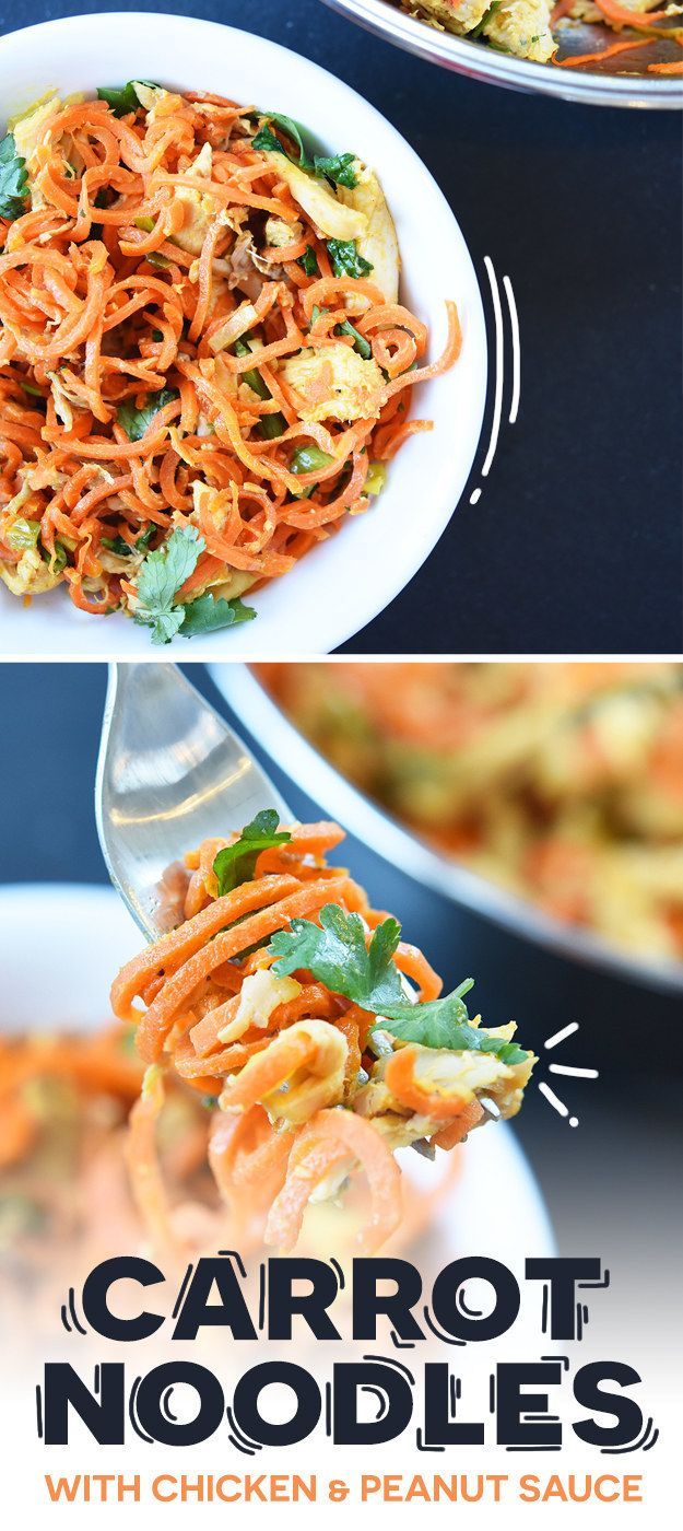 Carrot Noodles I Made with chicken and peanut sauce, this recipe will convince you to buy a spiralizer I Buzzfeed