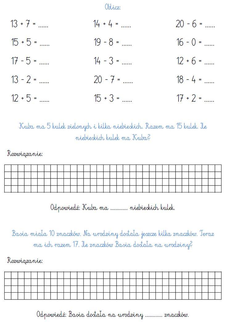 odpowiedzi do zadań matematyka