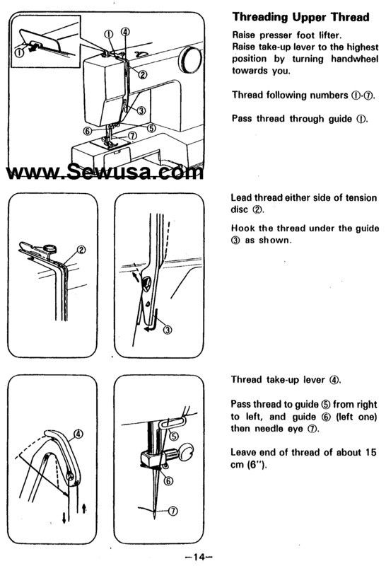 white 1505 and 1510 sewing machine threading diagram