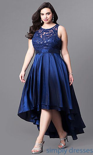 Shop satin plus-size prom dresses at Simply Dresses. Sleeveless formal dresses under $200 with sequined-lace bodices and layered high-low skirts.