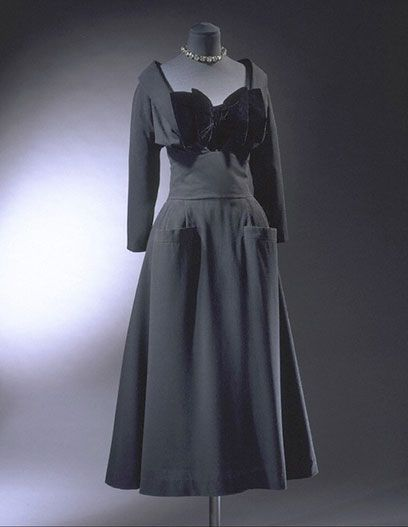 Cocktail dress, Dior  'Maxim' cocktail dress  Christian Dior (1905-57)  1947  Paris  Silk velvet and wool, with ribbed silk petticoat, and zip and buttons