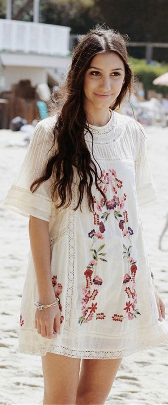 6a84c6cd7 Boho Fashion Inspirations 2018 - A White Floral Embroidery Dress Now ...
