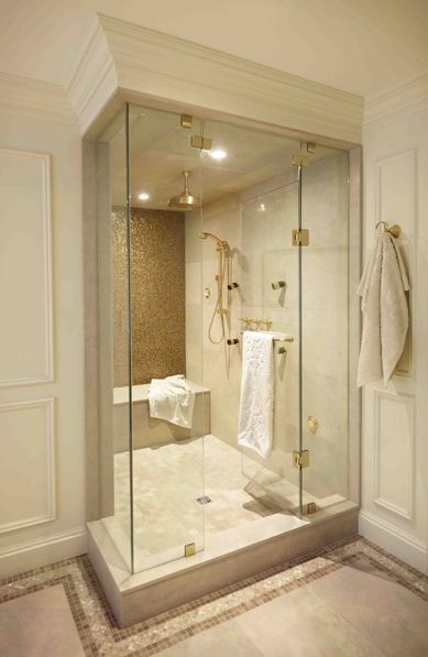 Wet room with a shower, steam unit and a 3-wall alcove #bathtub from @BainUltra. http://www.bainultra.com/therapeutic-baths/our-collections
