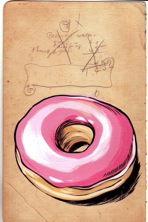 Donut - original drawing on vintage ledger cover | Donuts ...
