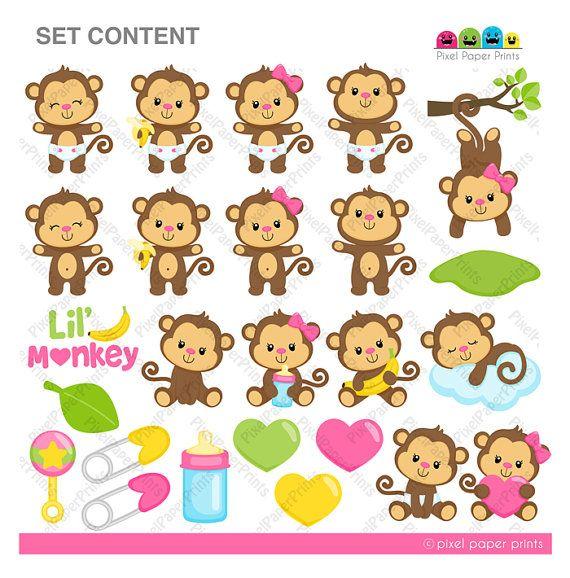 Baby Monkey Girl  Clipart and Digital paper por pixelpaperprints