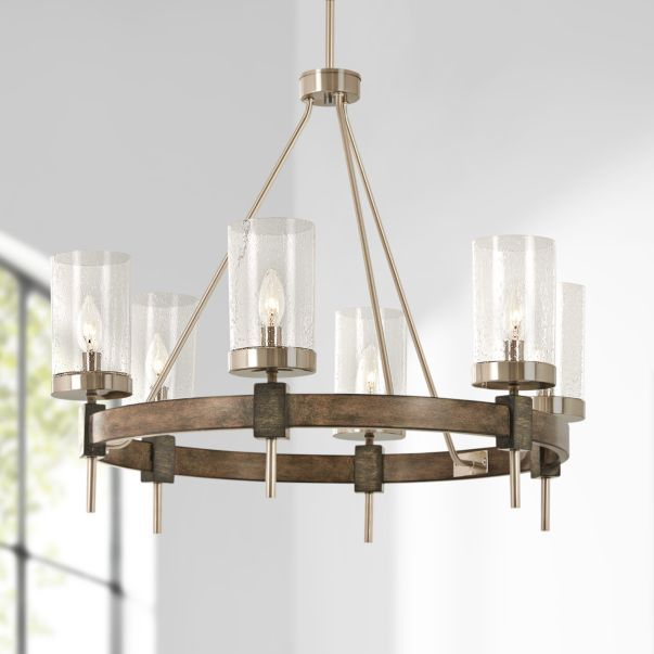 Bridlewood 28 Wide Wood Ring Modern Wagon Wheel Chandelier 58j24 Lamps Plus In 2020 Wagon Wheel Chandelier Chandelier Transitional Lighting Fixtures
