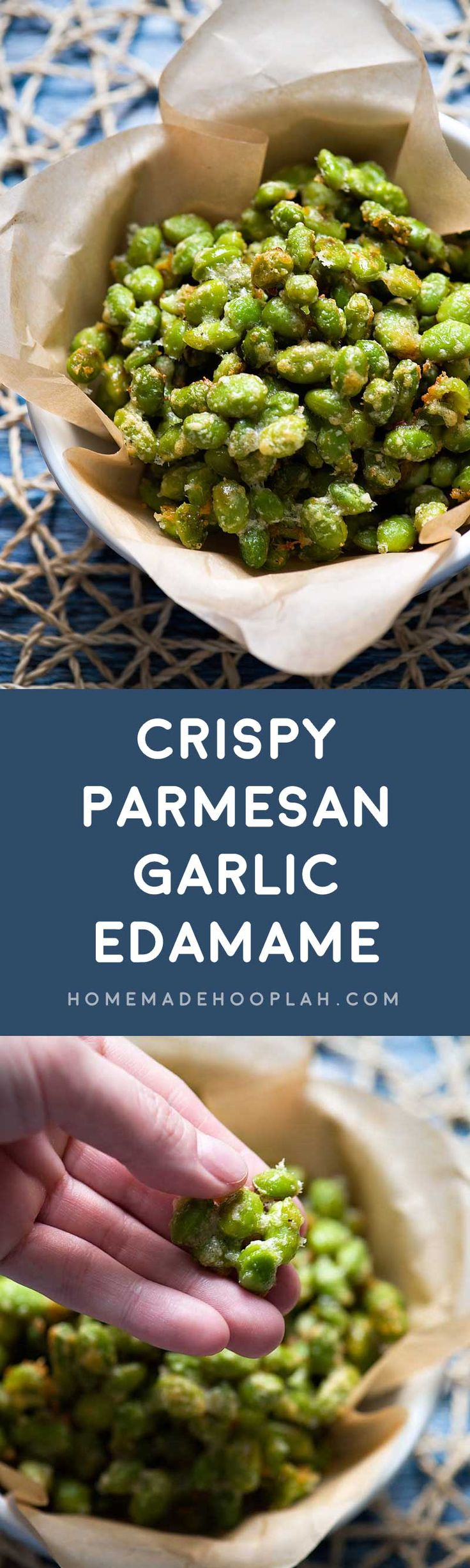 Crispy Parmesan Garlic Edamame! Baked in the oven, this edamame recipe is a tasty snack with only 123 calories! A filling food that will help you reach your weight goals. | HomemadeHooplah.com