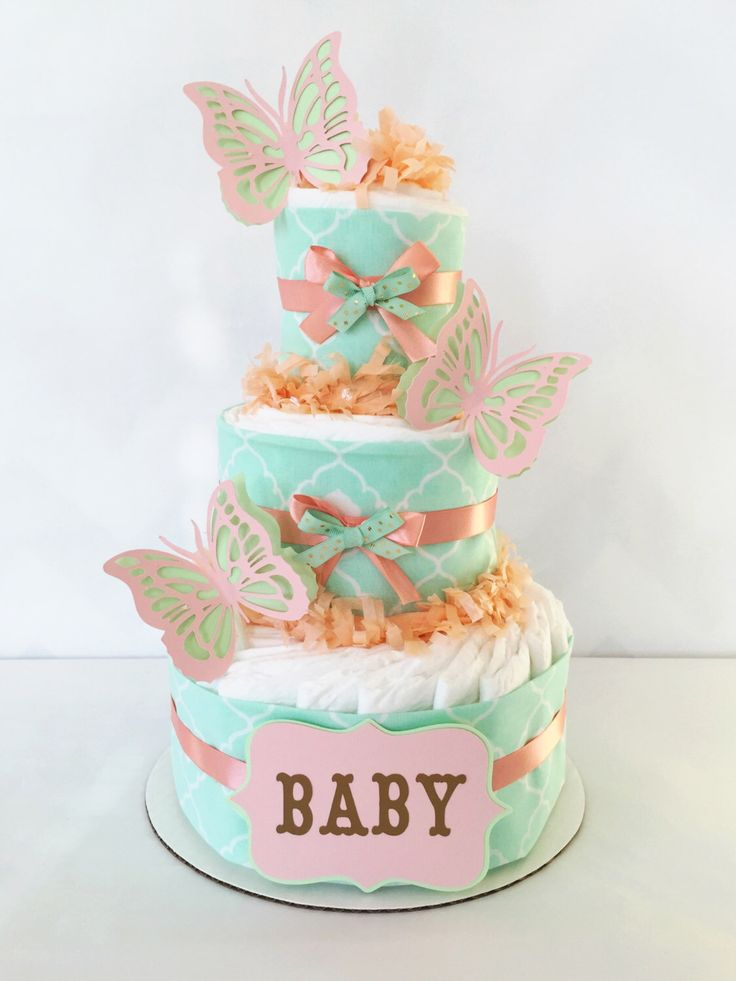 Peach and Mint Diaper Cake, Butterfly Diaper Cake, Peach, Mint and Gold Baby Shower Centerpiece by AllDiaperCakes on Etsy https://www.etsy.com/listing/225121044/peach-and-mint-diaper-cake-butterfly