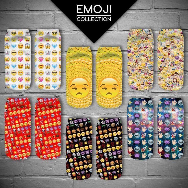 2016 New Fashion Harajuku 3D Emoji Socks Women Low Cut Ankle Emoji Sokken High Quality Calcetines Mujer Cute Emoji Skarpetki