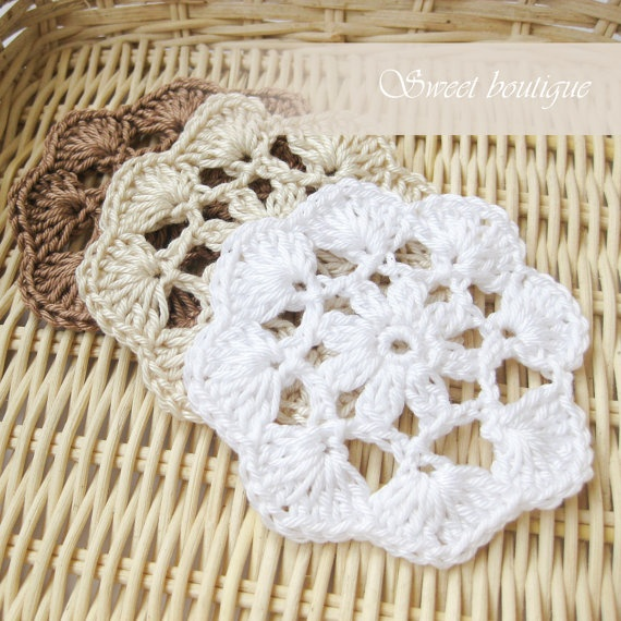 Rustic Crochet flower appliques Wedding by MSweetboutique on Etsy, $12.50