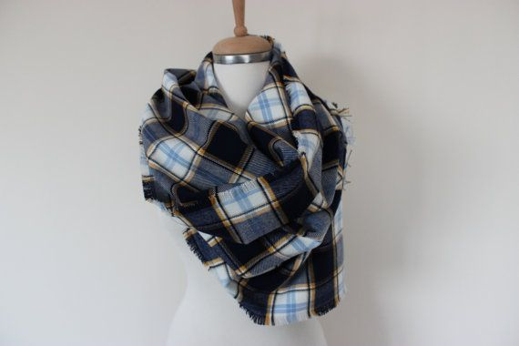 Blanket Scarf, Blanket Scarf Plaid Navy Blue Yellow Tartan Plaid Flannel Shirt Scarf Man Women Winter Accessories Scarves Tartan Plaid Wrap Material: