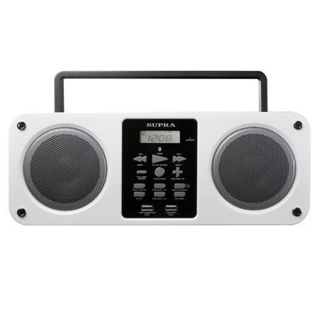 Supra BB-M102UB White  — 1970 руб. —  Тип аккумулятора: встроенный Li-Ion, Питание от сети 220 В: Да, Цифровой дисплей: 1 шт, Тип управления: электронный, Вход 3.5 мм аудио: 1 шт, Работа от аккумулятора: до 3 часов, Цифровой тюнер: FM, Зарядка USB устройств: Да, Фиксированные настройки тюнера: 20 FM, Формат аудио: MP3, Страна: КНР, Воспр. медиафайлов с цифр.носителей: Да, Высота: 12 см, Ширина: 30 см, Глубина: 9 см, Цвет: белый, Повторение произведения: Да, Мощность фронтальных АС: 2 x 3 Вт…