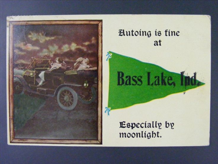 Bass Lake Indiana Starke County 1915 Vintage Antique Postcard Pennant Auto Car