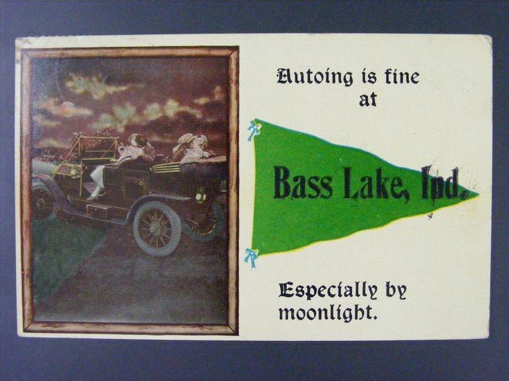 Bass Lake Indiana Starke County 1915 Vintage Antique Postcard Pennant Auto Car