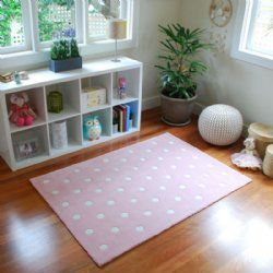 Dotty for You Kids Rug in pink from BugRugs.  A cute polka dot children's rug in light pink.  A classic that will endure the years!  Perfect for nurseries, bedrooms and playrooms.  Available in 1.1m x 1.6m size.