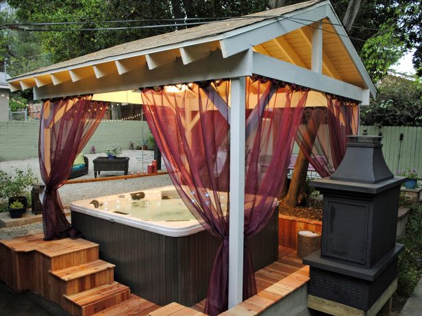 Hot Tub Home - romantic with a covered hot tub and outdoor curtains for privacy
